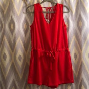 ZARA // red romper with open back